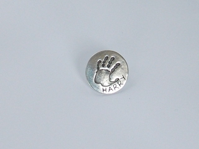 Stud style circle round finger hand foot paw print golf ball marker solid silver
