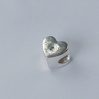 Heart solid silver finger hand foot paw print memorial Pandora charm bead