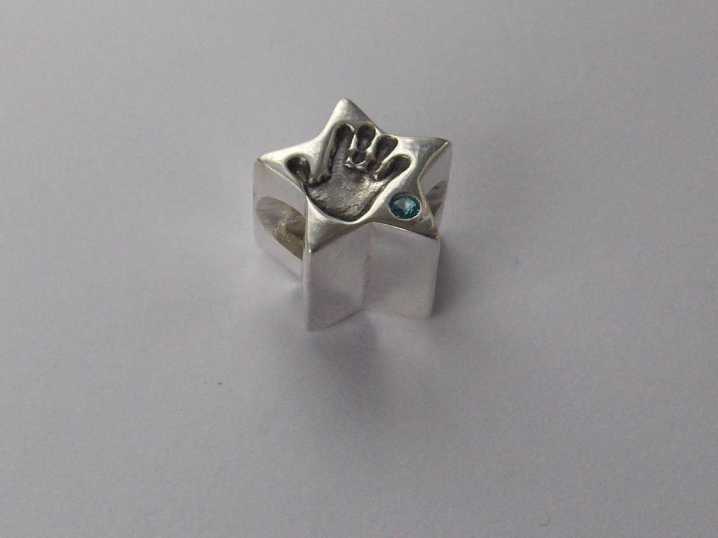 Star finger hand foot paw print solid silver Pandora charm bead