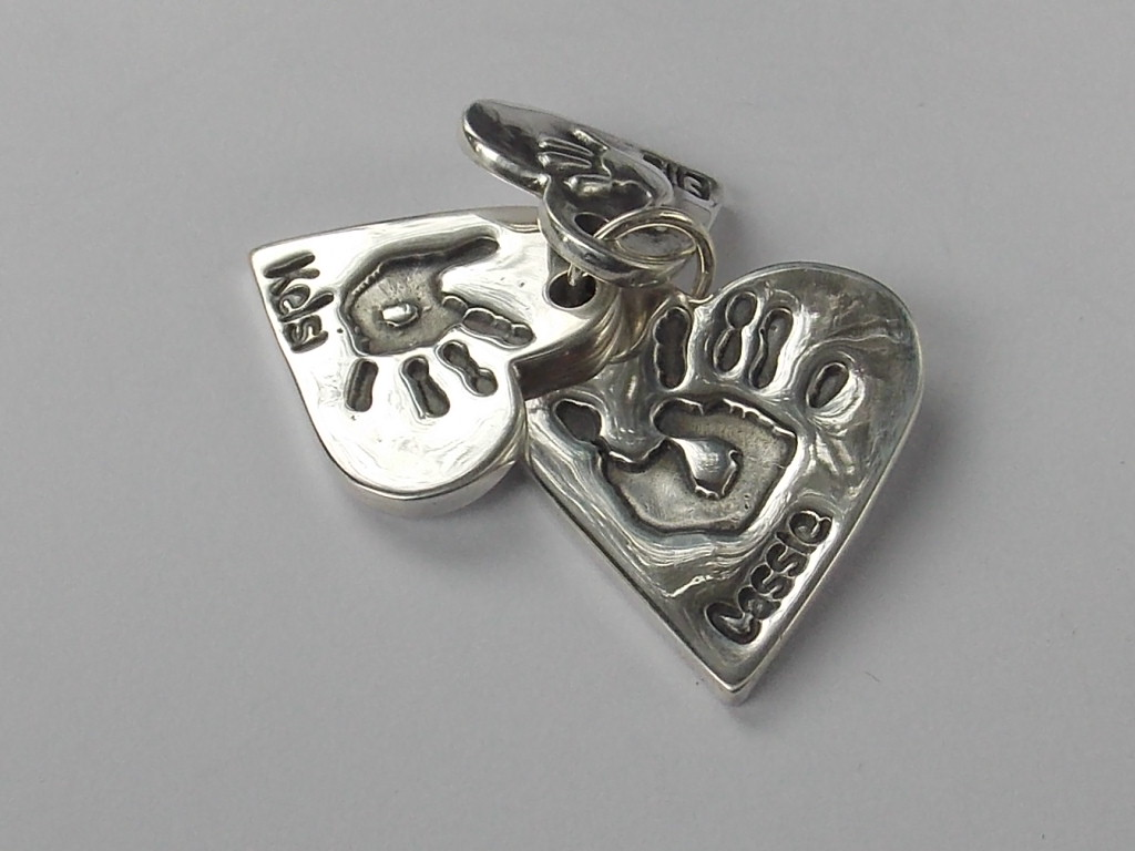 Triple descending solid silver finger hand foot paw print petite pendant grand heart charm