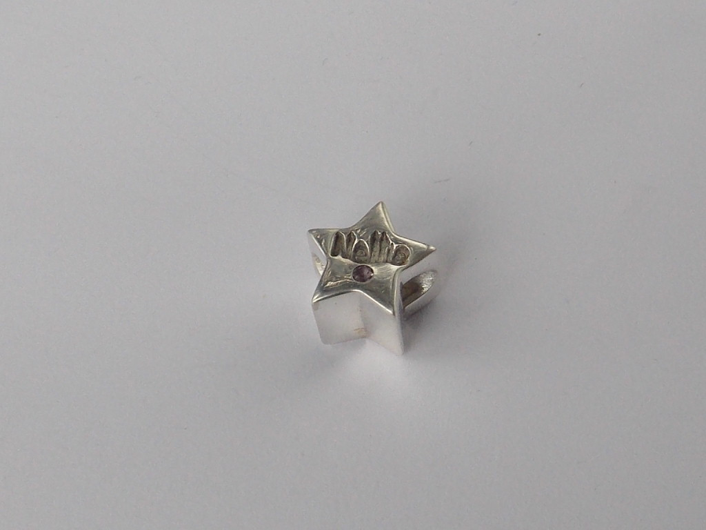 Star solid silver finger hand foot paw print Pandora charm bead