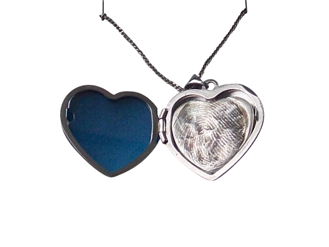 Heart sterling silver memorial locket finger hand foot paw print solid silver