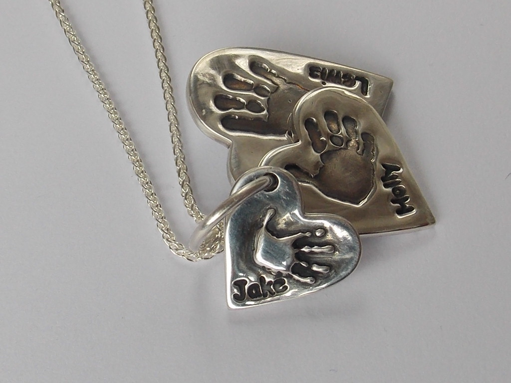 Solid silver heart finger hand foot paw print triple descending charm