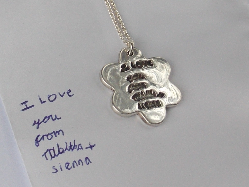Flower finger hand foot paw writing solid silver charm