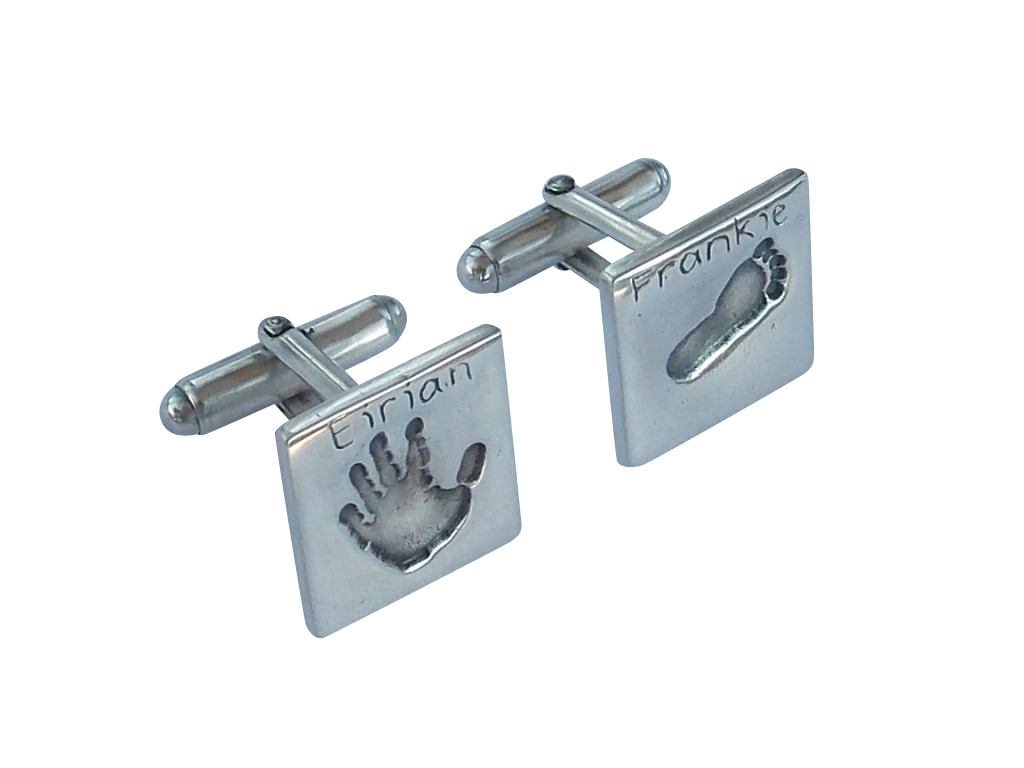 Square finger hand foot paw print solid silver cufflinks