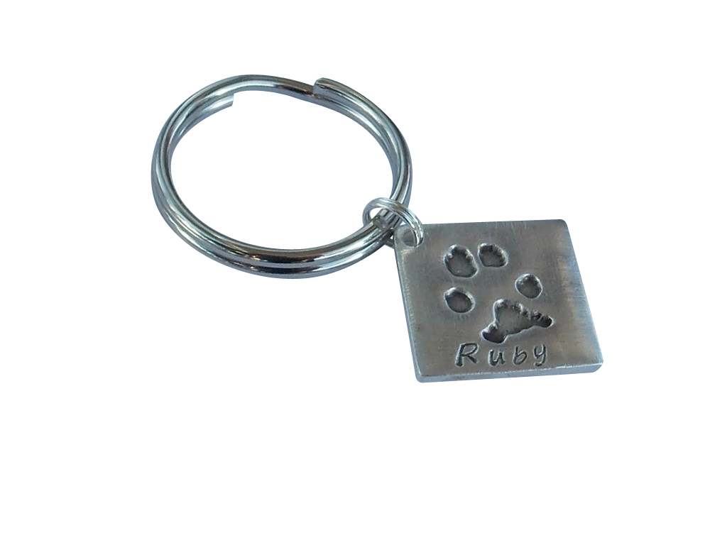 Square hand foot paw finger solid silver pendant charm keyring