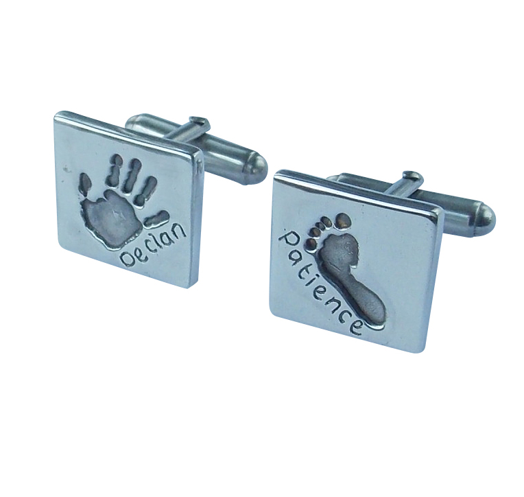 Solid silver square finger hand foot paw print cufflinks